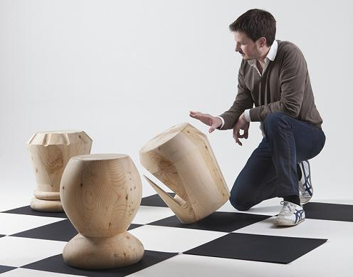 Wood Chess Stools