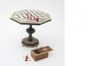 Indian Ivory Miniature Chess Table and Pieces
