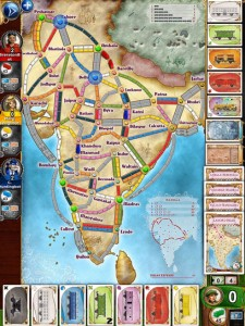 Digital Ticket to Ride India Map